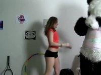 Своего ёбаря Дианочка приодела в костюм панды